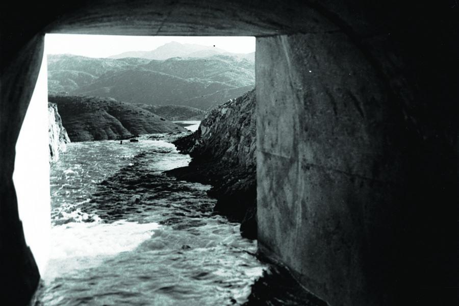 colorado rivew passing under one of the original aqueducts